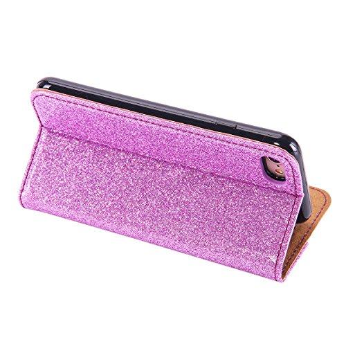 Lusso Wallet Case per iPhone 6Plus, MAOOY iPhone 6sPlus Moda Sparkle Shiny Cristallo Rhinestone Cassa, iPhone 6Plus/6sPlus Libro Portafoglio Custodia con Magnatic Closure & Carta di Credito & Basament Purple 4