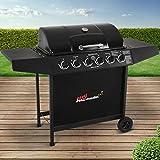 broil-master BBQ Gasgrill | Edelstahl Deckel, Grillstation mit 6 Brenner | Grillfläche 64,5 x 35,5 cm | Farbe: Schwarz