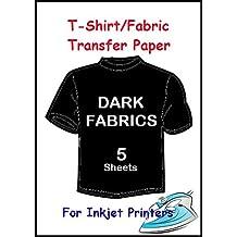 5, formato A4, per stampanti a getto d'inchiostro, Heat Press Iron On-Transfer Paper tessuto scuro - Tessuto Fogli Cotone