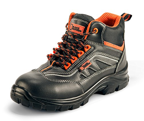 Black Hammer Mens Leather Safety Boots S3 SRC Composite Toe Cap Kevlar Non Metallic Metal Free Lightweight Work Shoes Ankle Hiker 8852