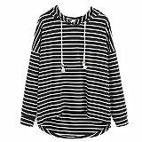 ZEZKT Damen Streifen V-Ausschnitt Langarm Lässigen Tops Basic Gestreift Crop Top Kurzarm Streifen Shirt (L, Schwarz)