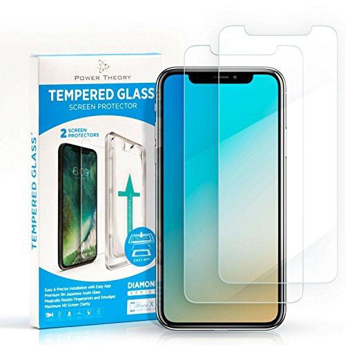 Power Theory iPhone X/XS Panzerglasfolie (2 Stück) - Japanische 9H Panzerglas Folie, HD Displayschutzfolie/Panzerfolie, Tempered Glas Schutzglas, Handy Hartglas Schutzfolie, Screen Protector Glass