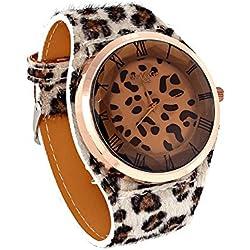 reloj - WOMAGE Reloj de pulsera de correa de cuero artificial de Estampado de leopardo de mujer de gran tamano Castano claro