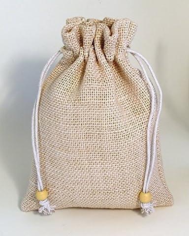 Pack of 5 x WHITE Drawstring Hessian Coffee/Tea/Xmas Sack, 17cm x 23cm. (Code #05WH) Simple stylish jute bag with wooden bead on drawstrings. White jute colour. …