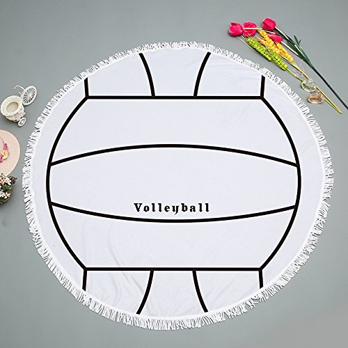 Sports Ball Round Beach Towel Blanket with Tassels Ultra Soft Super Water Absorbent Multi-Purpose Beach Throw 59 inch volleyball 59 inch