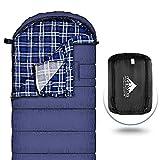Schlafsack Winter 230cm x 89cm XL -15 ° C bis 0 ° C für Camping, innen Baumwollflanell Schlafsäcke mit Innenschuh Ideal für kaltes Wetter Camping, Out Hände machen agiler, winddichter Stab hält warm