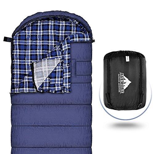 Agemore Flanelle de Coton Sac de Couchage pour Adultes, 230x 89cm, XL, étanche, idéal pour randonnée, Voyage, Camping, randonnée et activités de Plein air avec Compression Sack XL 3KG