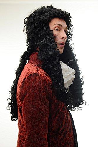 103 Perücke Herren Karneval Barock Renaissance Adliger Lord Prinz König Louis XIV Ludwig Schwarz Lang Locken 70 cm (Renaissance Perücke)