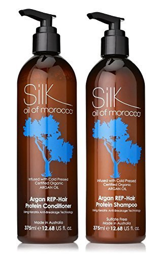 Vegan Repair Shampoo and Conditioner Set infused with Argan oil by Silk Oil of Morocco / 375ml each / repairing shampoo- Brazilian Blow Dry Treatment Conditioner - Conditioner For Damaged Hair - Damaged Hair Shampoo - Protein Shampoo - Keratin Treatment S