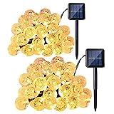 lederTEK Lumière Solaire (Lot de 2) 30 LED Guirlande Lumineuse Boules pour La Décoration Arbre Noël, Jardin Extérieur (Blanc chaud)