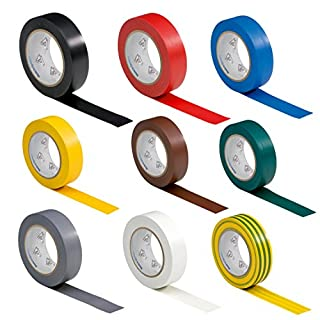 9 Rollen VDE Isolierband Isoband Elektriker Klebeband PVC 15mm x 10m DIN EN 60454-3-1 Set / Sortiment 9 Farben