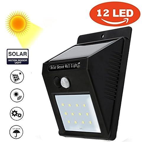 Somesun 12LED à énergie solaire détecteur de mouvement PIR Applique murale extérieur étanche lampe de jardin