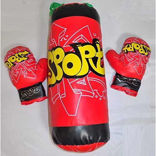 Lg-Imports Kinder Box Set Boxsack 50cm 1kg und Handschuhe Sport rot Boxen Boxtraining Boxhandschuhe