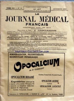 JOURNAL MEDICAL FRANCAIS (LE) [No 12] du 01/12/1932