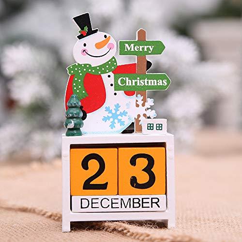sunnymi Mini Holzkalender Weihnachten Ornament Adventskalender Home Dekoration Basteln Geschenk 17 x 7 cm x3.5 cm C