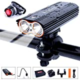 HUAYUU® USB Rechargeable Bike Light Set, Super Bright Waterproof 2400 Lumens Bike Headlamp