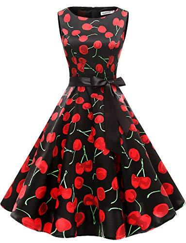 Gardenwed Robe Vintage Femme Années 40 50 60 Pin up Robe de Soirée Cocktail Cérémonie Style Audrey Hepburn Rockabilly Swing Col Rond sans Manche Black Cherry 2XL