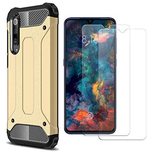 AOYIY Funda para teléfono móvil Xiaomi Mi 9 SE y 2 Protectores de Pantalla para la Caja del teléfono móvil y Protector de Pantalla para el teléfono Inteligente Xiaomi Mi 9 SE[Oro]