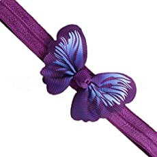 ADS Newborn Baby Girl Nylon Butterfly Ribbon Boutique Headbands/ Hairband (Violet)