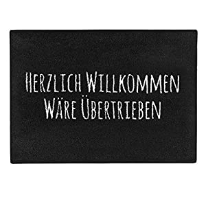 """Pechkeks Fußmatte mit Spruch """"Herzlich Willkommen. """" (Größe 70x50cm rutschfest, waschbar, schwarz), 70×50"""
