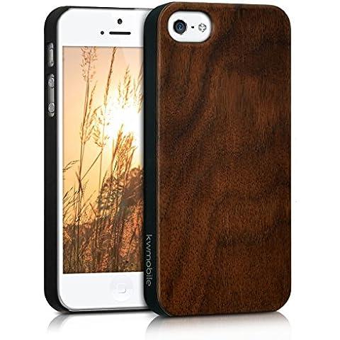 kwmobile Funda de madera para Apple iPhone SE / 5 / 5S Carcasa - Funda para teléfono funda protectora de madera en madera de nogal marrón