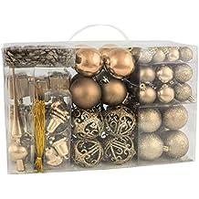 BRUBAKER 101-teiliges Set Weihnachtskugeln mit Baumspitze Champagner Christbaumschmuck