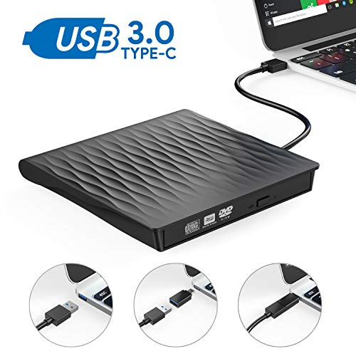 Externes DVD Laufwerk,Oudekay USB 3.0 DVD Brenner Portable USB C DVD/CD Laufwerk Slim RW DVD/CD Brenner Superspeed Tragbare CD Laufwerk für Windows10/7/8, Mac, MacBook Air/Pro, Winows, Linux (Schwarz) (Portable Dvd-player Usb)
