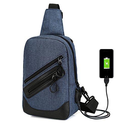 Sport zaino Zaino a spalla Sling petto escursionismo bag croce corpo borse con porta di ricarica USB per campeggio palestra scuola piccolo zaino ciclismo, Black Navy