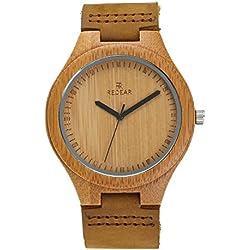 Juhaich madera reloj correa de piel auténtica madera de bambú Natural de la muñeca de madera reloj japonés movimiento de cuarzo para las mujeres y hombres