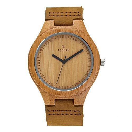 juhaich Holz Armbanduhr Bambus Holz Natur ECHT LEDER Gurt Holz Armbanduhr Japanisches Quarz-Uhrwerk für Damen & Herren -