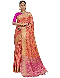 Saree Mall Women'S Silk Blend Saree With Blouse Piece (Orange & Pink_Free Size)