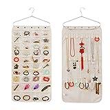 viemode doble cara colgante de joyas bolsillos de almacenamiento en la puerta pared Organizador de Armario Pendientes Collar Pulsera Jewelry Display O