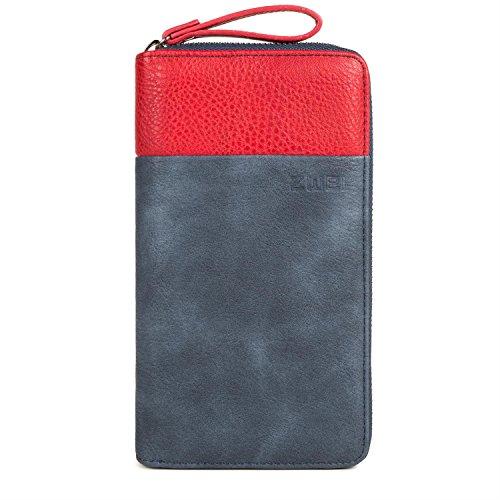 Zwei Eva EV2 Reißverschluss Geldbörse Portemonnaie Geldbeutel Brieftasche,blau -