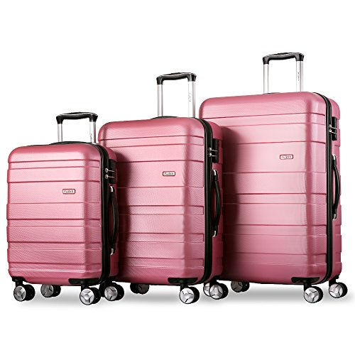 Flieks Kofferset Hartschalen 3 teilig Reisekoffer 3 tlg. Zwillingsrollen Trolleys mit Zahlenschloss, Flieks Gepäck-Sets mit 4...