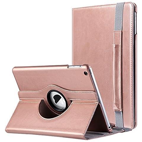 iPad Air Hülle, ULAK 360 Grad Rotierend Stand Smart Cover Case Schutzhülle Tasche Etui mit Auto Schlaf / Wach Funktion für Apple iPad Air/iPad 5th 2013 (Rosé