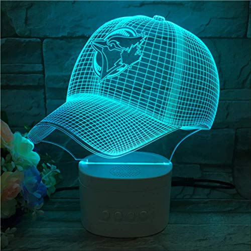 Optische Täuschungslampe Lampe 3D Nachtlicht, Bunte Farbbaseballmütze Führte Licht, Basisdekoration Des Bluetooth-Sprechers 8220 Usb