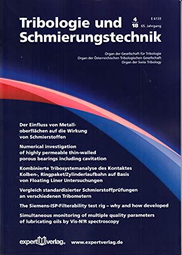 Tribologie und Schmierungstechnik 4 2018 Metalloberflächen Zeitschrift Magazin Einzelheft Heft