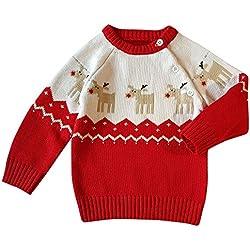 Navidad Ropa Bebé, LANSKIRT Niño Pequeño Unisexo Bebé Niño Niña Abrigo de Algodón Cbotonado Ciervos de la Navidad la Chaqueta de Punto Suéter Pulóver