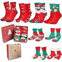 Emooqi Calcetines de Navidad, Calcetines de Algodón de Navidad Calcetines Térmicos de Navidad Regalo de