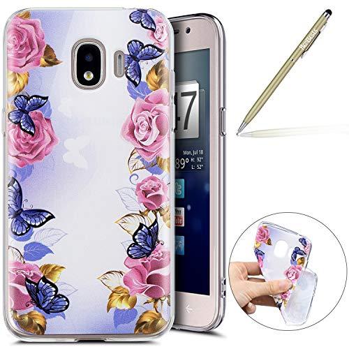 Kompatibel mit Handy Tasche Galaxy J4 2018 Silikon Hülle Durchsichtige Schutzhülle Crystal Clear Transparent Ultra Dünn Handyhülle Silikonhülle Kristall Klar TPU Bumper,Schmetterling Rose Blumen