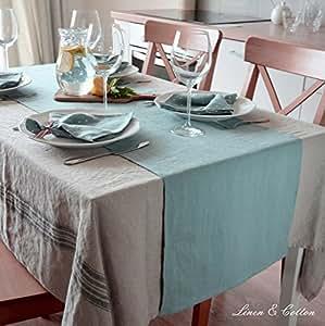 Linen & Cotton Runner Da Tavola in Puro Lino, 100% Lino Lavato (Stonewashed) (43 x 130cm, Blu Uovo di Anatra)