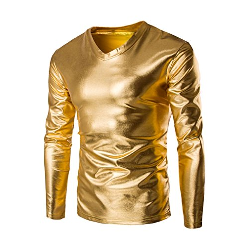 Herren Langarmshirts ,Frashing Men's Trend Metallic Schlanke V-Ausschnitt Langarm T-Shirts Herren Casual Shiny Slim V Neck Long Sleeve T-Shirts Tee Shirt Tops Clubwear (3XL, Gold) (3d T-shirt Gelbes)
