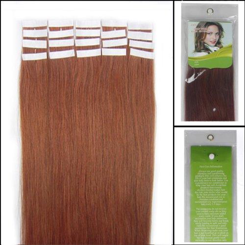 45,7 cm Bandes véritable Extensions de cheveux humains Droit Couleur 33 Auburn Foncé 40 g Lot de 20 Beauté Cheveux Style