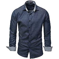 IYFBXl Camisa de Manga Larga Camisa de Manga Larga para Hombres nuevos Camisa de Manga Larga de Lunares FM120B, Azul Oscuro, XXXL