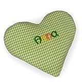 Mein Name Wärmekissen, Herz mit Name, 15x17cm, Rapssamen, Farbe: Grün