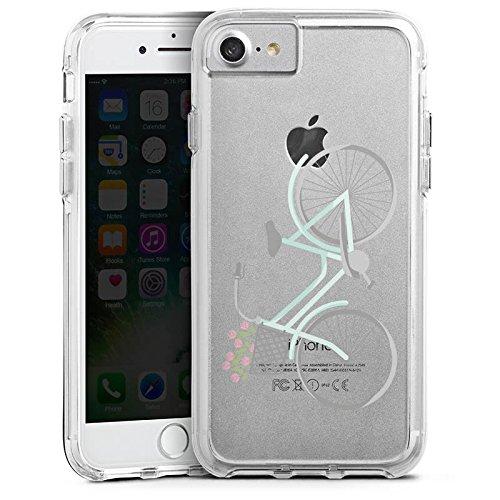 Apple iPhone 7 Bumper Hülle Bumper Case Glitzer Hülle Fahrrad Frankreich Retro Bumper Case transparent