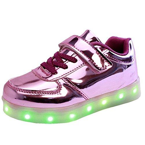 KIPTOP®Sneakers Scratch Chaussure led Basket Lumineuse clignotante multicolore USB Charge pour enfant Noël violet