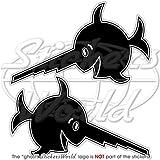 Emblem mit lachenden Sägefischen, Deutscher-U-Boot-Stil, 13,7 cm, Vinyl-Sticker, Aufkleber, 2 Stück