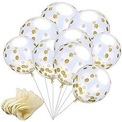 24 Globos Transparentes con Confeti Dorado Boda