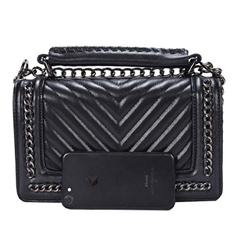 TOYU S Lady Klassisches Quilted Leder Handtasche Frauen Karriere OL Kette Tasche Umhaengetasche Mode-Strasse Damentaschen (V Quilted)